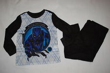 Boys L/S Pajamas Set Black Panther Flannel Marvel Superhero Xs 4-5