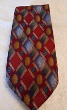 "Maroon Blue Beige Mix Diamond pattern tie 57"" x 3"" Debenhams"