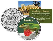 GREEN ANOLE * Reptiles * JFK Half Dollar U.S. Colorized Coin CAROLINA LIZARD
