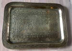 Vintage Solid Brass Etched Tray Plaque Egyptian Pyramids 26 cm X 19 cm