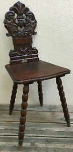 Antique French black forest Alsacian chair mid-1900's woodwork faun head knight