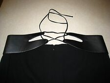 Escada Black Leather Waist Pants Size 42 Made in Slovenia