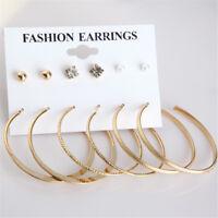6Pairs/Set Women Ear Stud Earrings Gold Crystal Ear Huggie Hoops Dangle Jewelry