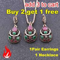 3PCs/Set Harz-Anhänger Ohrringe + Halskette Schmuckset Kristall Strasssteine