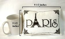 "PARIS EMBROIDERED ACCENT PILLOW :  BLACK WHITE FRENCH EIFFEL TOWER 8.5"" x 5.5"""