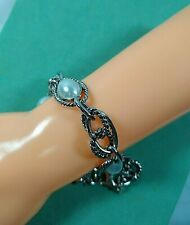 Chunky Chain Twisted Link Bracelet Silver with Pearls Jewelry Tag