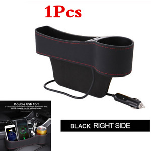 Black Car Seat Gap Dual USB Storage Box Crevice Organizer Cup Holder For Right