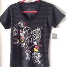 New listing Disney Store New Minnie & Mickey Mouse Black Gray V Neck Women Junior Size M