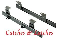 Adjustable Keyboard Shelf Runners Extending Ball Bearing Black + Fixings 409mm
