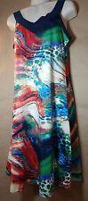 Pret A Porter Navy Abstract Artsy Print Gitane V Neck Sleeveless Knit Dress