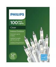 Philips 100 Mini Clear Christmas Lights White Wire Weddings Patio Craft Outdoor