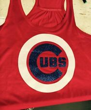 Chicago Cubs Monogram Flowy Bella Tank Top Initials Glitter Baseball Personalize