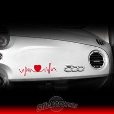Adesivo FIAT 500 - LOVE HEARTBEAT sticker ROSSO CUORE plancia cruscotto 35