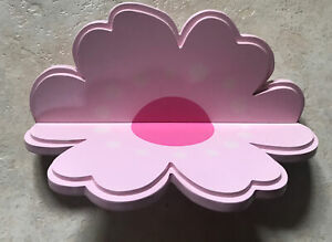 Two Pink Flower-shaped Wooden Wall  shelves