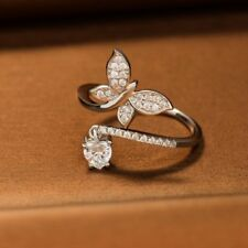0.7Ct Heart Cut VVS1 D Diamond Engagement Ring Butterfly 14k White Gold Over