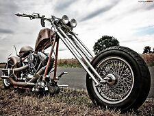 "24"" x 36"" Poster Old Harley Davidson Chopper Bike"