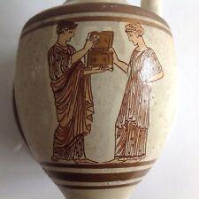"Greek Vase Pitcher Amphora Museum Replica D.Vassilpoulos painted 7+"" tall"
