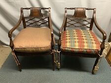 Pair Hand Carved Designer Distressed Chairs Alexander and Mary John- Richard