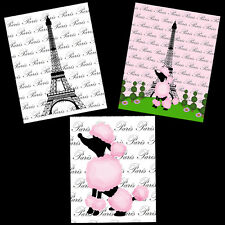 Paris Pink Eiffel Tower French Poodle Bathroom Bedroom Decor 8X10 Wall Art Party