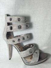 Sam Edelman Eloise gray suede leather grommets straps sandals dress high heels 9