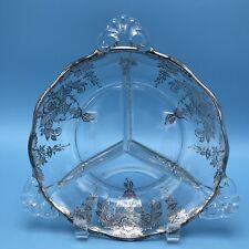 "Silver Overlay Glass Divided Bowl Basket Motif 7.25"" Diameter 3 Handles Nouveau"