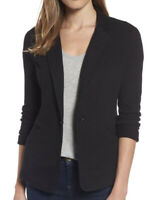 NWT Caslon Womens Knit One-Button Blazer Black Size XS