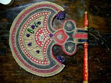 An Antique Temple Fan Embellished with Beetle Wings India 18th-19th century