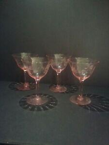 Pink Depression Glass Etched Floral Stemware