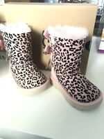 UGG Toddler Girl Pink EXOTIC BAILEY BOW II Boots Leopard Sheepskin size: 6