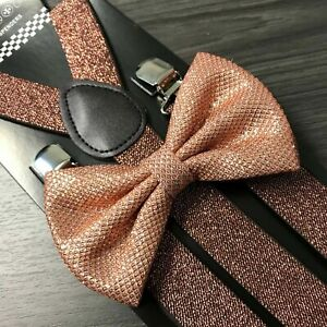 Rose Gold Copper Glitter Suspenders and Bow Tie Combo Set Adult Wedding Prom