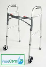 Folding Walking Frame With Wheels Lightweight Walker Mobility Zimmer Disability