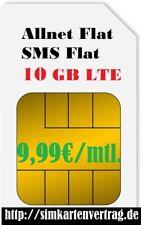 Sim Karten Handyvertrag ohne Handy,  Allnet Flatrate 10 GB Internet LTE