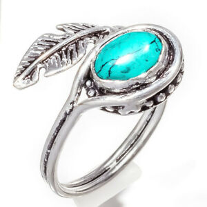 Turquoise Gemstone 925 Sterling Silver Handmade Jewelry Ring Size 7_b1244_283