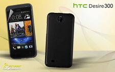 Black Matte Gel Case For HTC Desire 300 + Screen Guard TPU Jelly Skin Soft Cover