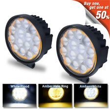 2x Amber Halo 5inch 60W Led Light Offroad Round Pods 4X4WD Jeep Flood Bumper Fog