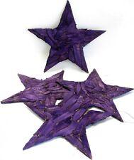 4 Holzscheiben Sterne 10cm lila zum Hängen Weihnachtsdeko
