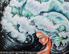 Olie Original painting OCEAN SEA MERMAID ARIEL WIND BREAKING WAVE BLUE GIRL WIND