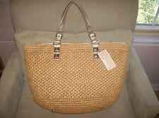 $298 Michael Kors Santorini Tote Bag Handbag Straw Basket Gold Leather NWT