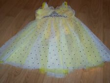 Size XL Child Revolution Dancewear Yellow Sequined Skirted Dance Skating Leotard