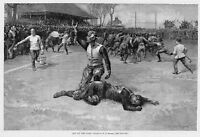 FOOTBALL PLAYER INJURED OUT OF GAME EARLY 1891 SPORTS HISTORY FOOTBALL