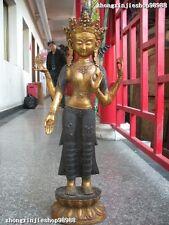 """27""""Tibet old bronze gild Four armed Avalokitesvara kwan-yin Bodhisattva statue"""