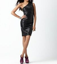 M60 Miss Sixty Dress Sz 12 Black Leopard Sequin One Shoulder Mini Cocktail Dress