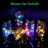 Solar Powered Mason Jar Lid Lights Fairy String Light 20 LED Garden Party Decor