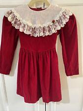 Peaches 'N Cream Vintage Girls Sz 6X Soft Red Velvet Dress Lace Collar