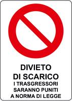 ADESIVO Cartello segnaletica DIVIETO DI SCARICO 200x300 mm