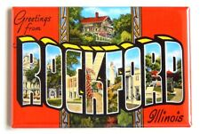 "Greetings from Rockford Illinois Fridge Magnet travel souvenir ""style A"""