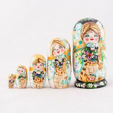 Nesting Dolls Matryoshka Made in Russia Hand Painted Red Russian Doll  7''