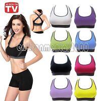 Womens Yoga Sports Running Bra Crop Top Vest Stretch Bras Shapewear Padded EN