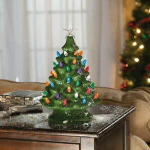 """13"""" Tall Battery-Operated Vintage-Style Green Ceramic Tree Christmas Decoration"""