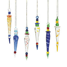 12 Whimsical Glass Multicolored Tear Drop Icicle Christmas Tree Ornaments